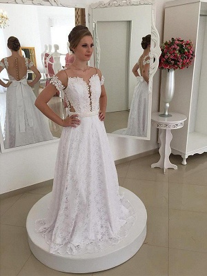 Lace Short Sleeves A-Line Sweep Train Scoop Neckline Wedding Dresses UK_1