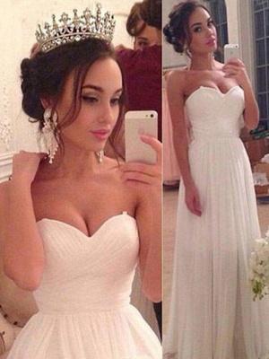 Floor-Length A-Line Sleeveless Sweetheart Ruffles Wedding Dresses UK_1