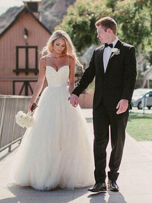 Sweep Train Ball Gown Sleeveless Tulle Cheap Sweetheart Wedding Dresses UK_1