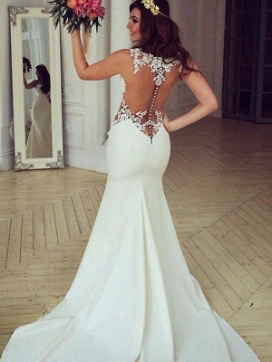 Sexy Mermaid Sweep Train Applique Lace Sleeveless Scoop Neckline Wedding Dresses UK_1