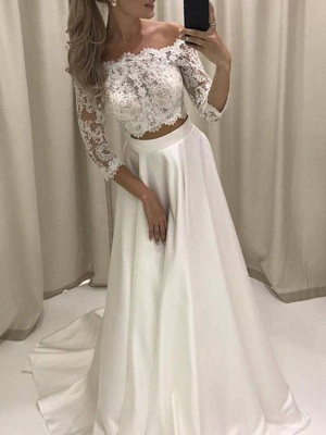 Court Train Applique A-Line Off-the-Shoulder Satin 3/4 Sleeves Wedding Dresses UK_1