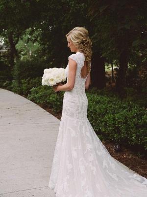 Applique Sheath Short Sleeves Court Train Lace V-neck Wedding Dresses UK_3