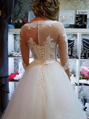 Floor-Length Scoop Neckline Ball Gown 1/2 Sleeves Tulle Applique Wedding Dresses UK_5
