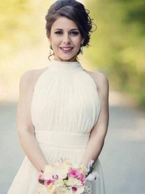 Floor-Length A-Line Sleeveless Halter Ruffles Tulle Wedding Dresses UK_7