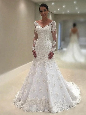 V-Neck Applique Lace Long Sleeves Sexy Mermaid Court Train Wedding Dresses UK_1