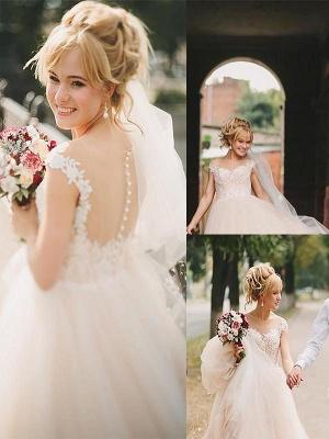 Court Train Sleeveless A-Line Tulle Cheap Scoop Neckline Wedding Dresses UK_1