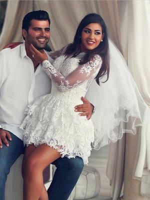 Mini A-Line Long Sleeves Scoop Neckline Applique Lace Wedding Dresses UK_1