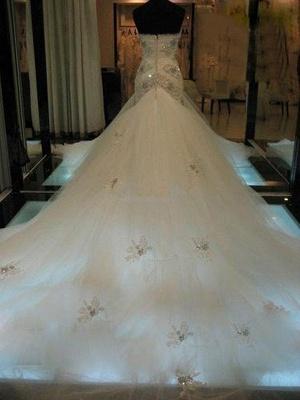 Court Train  Sexy Mermaid Beads Sleeveless Tulle Cheap Sweetheart Wedding Dresses UK_3