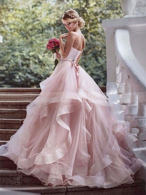 Court Train Layers Ball Gown Sleeveless Organza Sweetheart Wedding Dresses UK_3