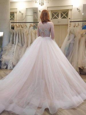 Ball Gown Crystal Spaghetti Straps Sleeveless Court Train Tulle Cheap Wedding Dresses UK_3
