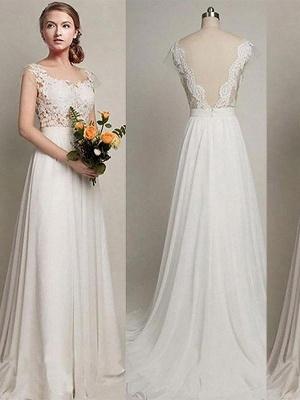 Scoop Neckline Sweep Train A-Line Sleeveless  Wedding Dresses UK_1
