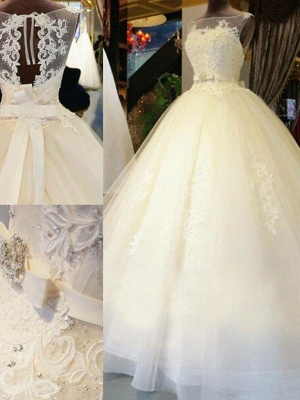 Applique Lace Ball Gown Off-the-Shoulder Sleeveless Ribbon Beads Sweep Train Wedding Dresses UK_4