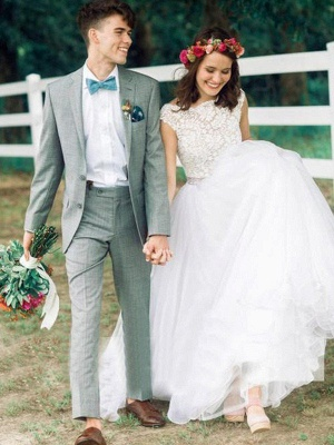 Scoop Neckline Lace Ball Gown Court Train Sleeveless Applique Wedding Dresses UK_1