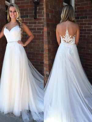 A-Line Applique Court Train Sleeveless Tulle Cheap Scoop Neckline Wedding Dresses UK_1