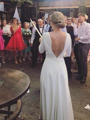 Sweep Train Ruffles A-Line Scoop Neckline Satin 3/4 Sleeves Wedding Dresses UK_4