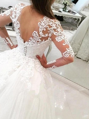 Long Sleeves  V-Neck Ball Gown Applique Lace Cathedral Train Tulle Wedding Dresses UK_3