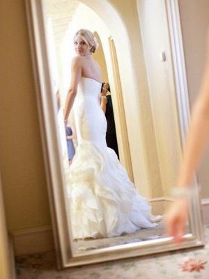 Court Train  Sexy Mermaid Sleeveless Sweetheart Ruffles Satin Wedding Dresses UK_3