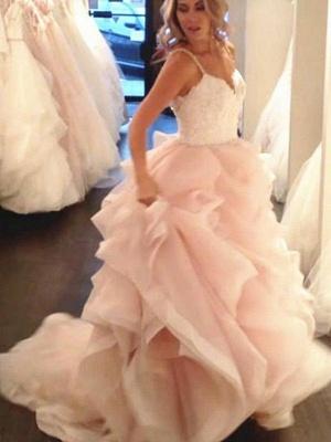 Lace Organza A-Line Sleeveless Sweep Train Sweetheart Ruffles Wedding Dresses UK_3