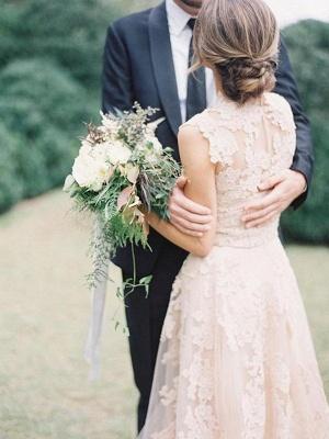 Tulle A-Line Sweep Train Applique Sleeveless  V-Neck Wedding Dresses UK_3