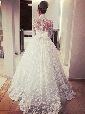 Cathedral Train Ribbon Ball Gown High Neck Lace Long Sleeves Wedding Dresses UK_4