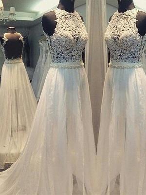 Sweep Train Scoop Neckline Sleeveless  A-Line Wedding Dresses UK_1