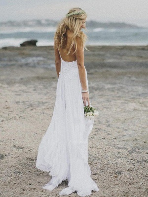 V-neck Applique Court Train A-Line  Sleeveless Wedding Dresses UK_3