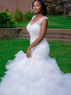 Sexy Mermaid Cathedral Train Organza  V-Neck Sleeveless Wedding Dresses UK_1