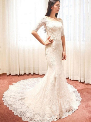 Applique Sexy Mermaid Square Cathedral Train Lace 1/2 Sleeves Wedding Dresses UK_5
