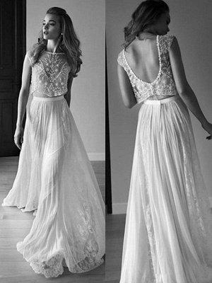 Tulle Sweep Train A-Line Scoop Neckline Sleeveless Beads Wedding Dresses UK_1
