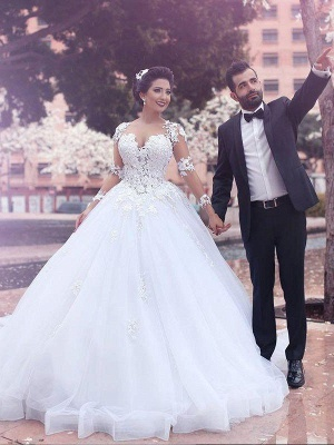 Tulle Cheap Ball Gown Court Train Long Sleeves Sweetheart Wedding Dresses UK_1