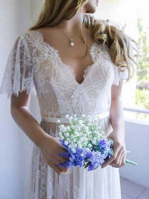 V-neck A-Line Lace Sweep Train Ribbon Short Sleeves Wedding Dresses UK_3