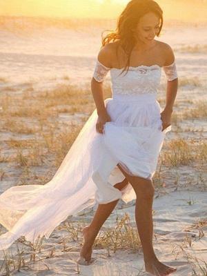 Sleeveless A-Line Floor-Length Off-the-Shoulder Lace  Wedding Dresses UK_1