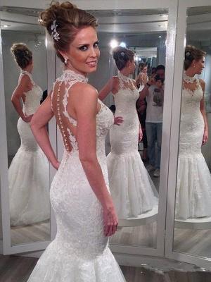 Sleeveless Lace Tulle Cheap  Sexy Mermaid Floor-Length High Neck Wedding Dresses UK_3
