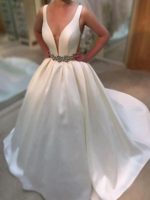 Satin Sleeveless A-Line V-neck Court Train Wedding Dresses UK_3
