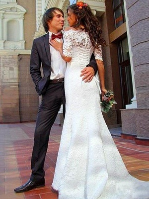 1/2 Sleeves Lace Off-the-Shoulder  Sexy Mermaid Sweep Train Wedding Dresses UK_4