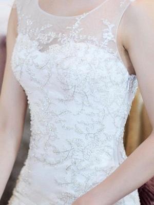 Court Train  Sexy Mermaid Beads Organza Scoop Neckline Sleeveless Wedding Dresses UK_5