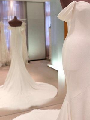 Short Sleeves Satin Sheath Court Train Off-the-Shoulder Wedding Dresses UK_3