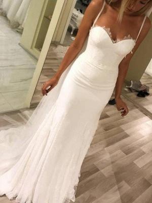 Sweetheart Sheath Sweep Train Satin Spaghetti Straps Sleeveless Wedding Dresses UK_3