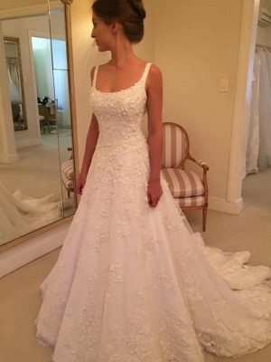 Court Train A-Line Straps Square Lace Applique Sleeveless Wedding Dresses UK_4