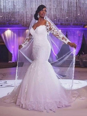 Sexy Mermaid Sweep Train Long Sleeves Tulle Cheap Sweetheart Applique Wedding Dresses UK_1