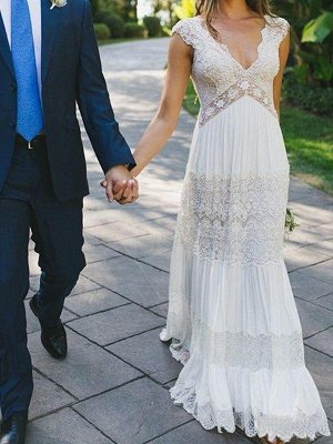 Floor-Length A-Line  V-Neck Lace Short Sleeves Ruched Wedding Dresses UK_3