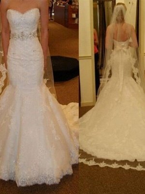 Lace Tulle Sexy Mermaid Sleeveless Court Train Sweetheart Ribbon Wedding Dresses UK_3