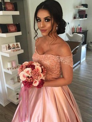 Satin Off-the-Shoulder Ball Gown Cathedral Train Sleeveless Ruffles Wedding Dresses UK_1