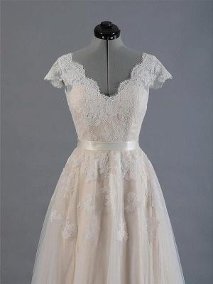 Sweep Train A-Line Sleeveless Applique Lace V-neck Wedding Dresses UK_4
