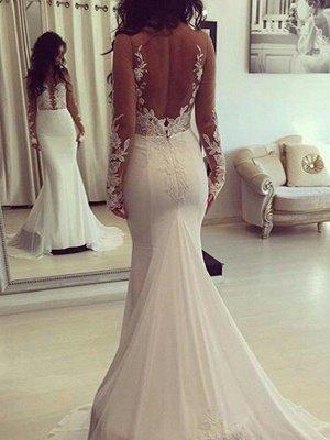 Scoop Neckline  Sexy Mermaid Court Train Satin Long Sleeves Wedding Dresses UK_1