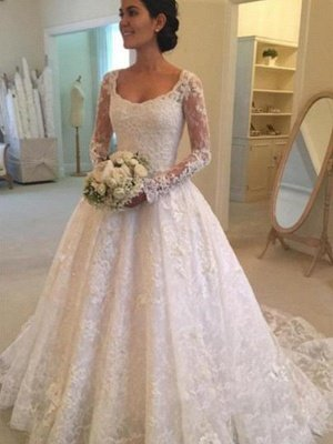 Ruffles Ball Gown Scoop Neckline Cathedral Train Lace Long Sleeves Wedding Dresses UK_1