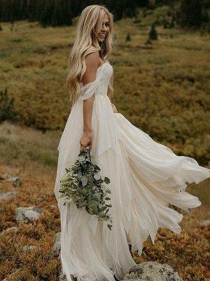 A-Line Off-the-Shoulder  Ruched Floor-Length Sleeveless Wedding Dresses UK_1