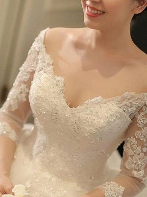 Tulle Ball Gown 3/4 Sleeves Beads Applique Cathedral Train Off-the-Shoulder Wedding Dresses UK_5