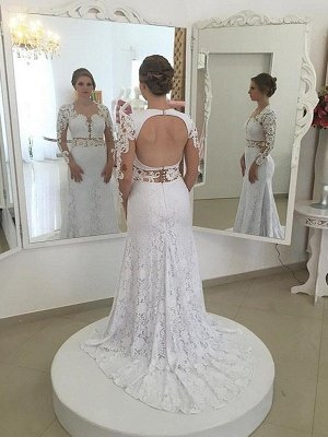 Sheath Scoop Neckline Lace Sweep Train Long Sleeves Wedding Dresses UK_1