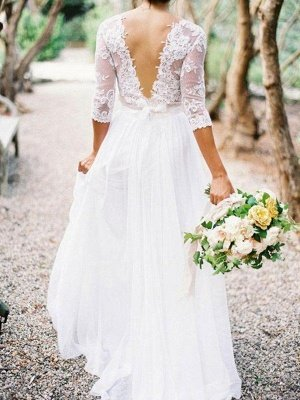 Lace   V-Neck Floor-Length 1/2 Sleeves Applique A-Line Wedding Dresses UK_3